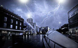 A ghost City during the thunderstorm royalty free stock photography