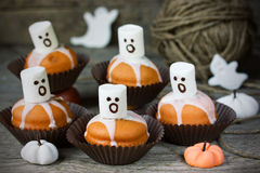 Ghost cupcakes for Halloween party Stock Photography