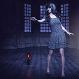 Ghost, 3D CG. 3D portrait of a ghost woman with black hair stock photography
