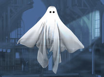 Ghost. 3-D render of a floating ghost before a dark mysterious background stock illustration