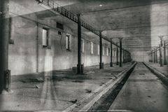 The ghost darkness dirty hall Royalty Free Stock Photo