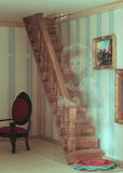 A ghost in the doll house. Detail of retro room in doll house with the image of a doll in transparency Royalty Free Stock Photography