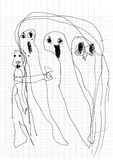 Ghost doodles by real kid,drawing style Pen on Paper Notebook Royalty Free Stock Photography