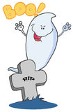 Ghost emerging behind a tombstone. Scary halloween ghost emerging behind a tombstone Royalty Free Stock Photography