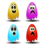 Ghost emoticons. Funny and cute for new smily design Stock Image