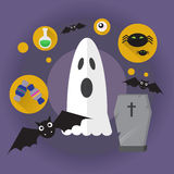 Ghost Flat Icon Halloween Holiday Stock Photo