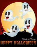 Ghost Flying Under Full moon Vector Illustration For Happy Halloween Royalty Free Stock Photography