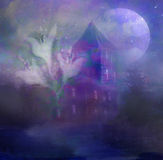 Ghost in front of a haunted house. Royalty Free Stock Photo