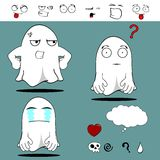 Ghost funny cartoon set7 Stock Images