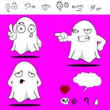 Ghost funny cartoon set0 Royalty Free Stock Photography