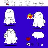 Ghost funny cartoon set5 Royalty Free Stock Image