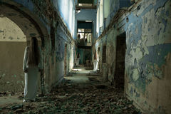 Ghost girl in an abandoned building. Multiple ghost girl in an abandoned building Stock Photos