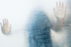Ghost Girl. On Glass,Use As Horror Scene Royalty Free Stock Image