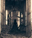 Ghost girl in haunted house stock images