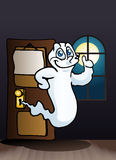 Ghost with goofy  faces come out from office door Stock Images