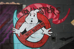 Ghost graffiti. Graffiti representing a cartoon ghost with a''Toy buster'' sign. Location: down town Timisoara, Romania Royalty Free Stock Image