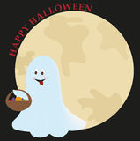 Ghost of halloween. Card with illustration of a nice ghost with sweets in the night of halloween. vector Royalty Free Stock Images