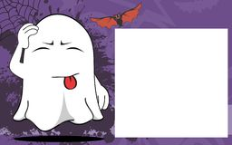 Ghost halloween cartoon expressions frame background Royalty Free Stock Image