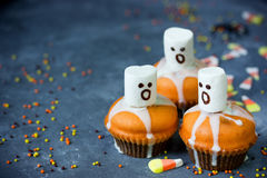 Ghost Halloween cupcakes empty space for text Stock Photos