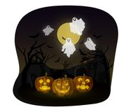 Ghost Halloween. Vector Illustration Cartoon: Head Pumpkin Jack o Lantern Halloween. Scarecrow and Ghost cover fabric white evil creepy and funny cute With moon Royalty Free Stock Photos