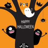 Ghost, hanging spider web, monster, owl, eye eyeballs in hollow. Black tree silhouette. Bunting flags Boo spooky cute cartoon char. Acter set. Happy Halloween Stock Photography