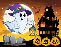 Ghost with hat and lantern theme 4 Royalty Free Stock Photos