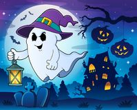 Ghost with hat and lantern theme 3 Stock Photos