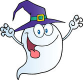 Ghost holding his hands up and wearing a witch hat Royalty Free Stock Photo