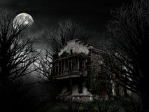 Ghost house. In night scene Royalty Free Stock Photos