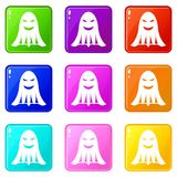 Ghost icons 9 set. Ghost icons of 9 color set isolated vector illustration Royalty Free Stock Photos