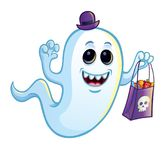 Ghost idiot avec le sac de des bonbons ou un sort Photo stock