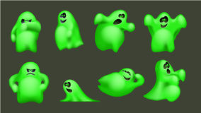 Ghost 0 4. Illustration of ghost set inb different poses on dark green background vector illustration