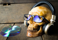 Ghost Is Listening To Music Headphone. Royalty Free Stock Photos