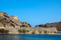 Ghost island of Spinalonga. Scenic view of the historic leper colony on the island of Spinalonga (Kalydon), Greece Stock Photos