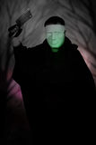 Ghost Killer man in mask and hood hold chopping knife, costume for Halloween night Royalty Free Stock Photos