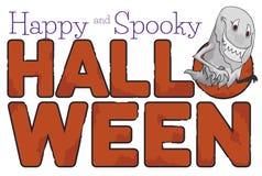 Ghost macabre au-dessus d'un signe corrodé pour la célébration de Halloween, illustration de vecteur illustration stock