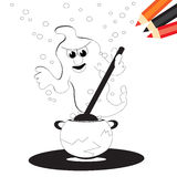 Ghost and magic potion. Halloween coloring book page for kids: Black and white sketch with ghost making a magic potion vector illustration