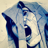 Ghost. Man Scream In Shattered Wall,Horror Background For Movies Poster Project stock image