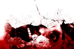 Ghost. Man Scream In Shattered Wall,Horror Background For Movies Poster Project Stock Images