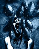 Ghost. Man Scream In Shattered Wall,Horror Background For Movies Poster Project royalty free stock photography