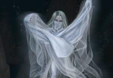 Ghost marche dans le cimeti?re illustration de vecteur