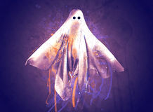 Ghost. Modern art 3D render of a floating ghost before a dark mysterious background Royalty Free Stock Image