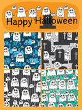 Ghost music note cute set seamless pattern. This illustration is abstract cute, funny, happy, many and free ghosts at sky, grave, stripe and bubble spirit dreams Royalty Free Stock Image
