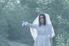 Ghost in  night forest Royalty Free Stock Photography