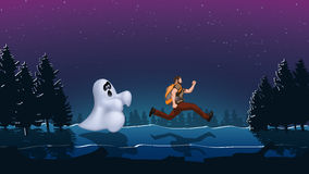 Ghost night 01. Illustration of running out man from ghost in the woods Royalty Free Stock Image