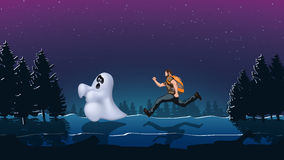 Ghost night 01. Illustration of tourist run to ghost in the forest Royalty Free Stock Photography
