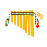 Ghost Panpipes Flute Music Instrument With Feather Decoration, Native Indian Culture Inspired Boho Ethnic Style Print Royalty Free Stock Photos