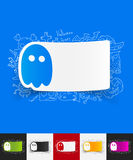Ghost paper sticker with hand drawn elements Stock Photography