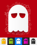 Ghost paper sticker with hand drawn elements Stock Photo