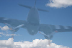 Ghost Plane. A ghost plane, blurred, travelling fast twoards the earth stock photography